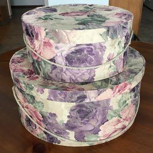 Vintage Floral Hatbox Set